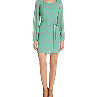 Sequin Hearts Long-Sleeve Chevron Print Dress - Mint/Coral