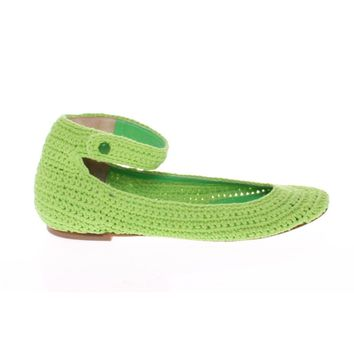 Dolce & Gabbana Green Cotton Knitted Ballet Flats Shoes