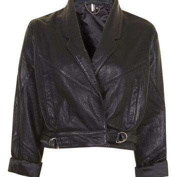 Cropped Leather Jacket - Jackets & Coats - Clothing