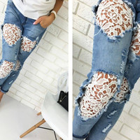 Cutout Lace Detail Denim Jeans
