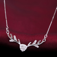 Cute fashion zircon elk angle 925 sterling silver necklace, a perfect gift !