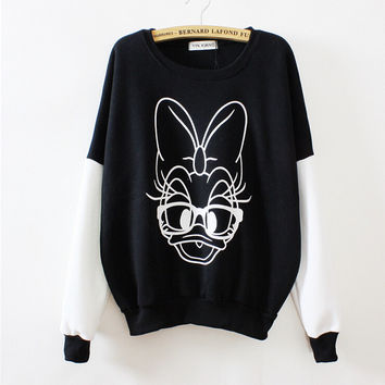 Spell color cartoon duck round neck sweater