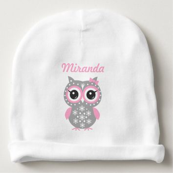 Pink Cute Owl Baby Girl Baby Cotton Beanie