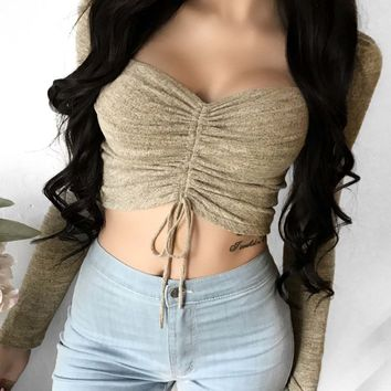 Gathered Chest Crop Top
