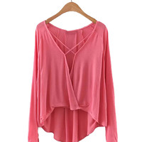 Criss Cross Front V Neck Long Sleeve Blouse