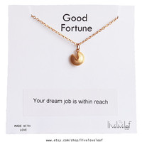 A fun gift idea - Gold Fortune Cookie Pendant Necklace with a message Gold filled chain Lucky, good luck charm, jewelry stocking stuffers