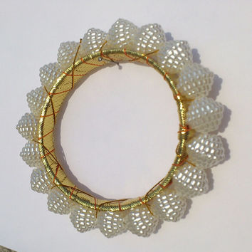 Handmade Golden Indian Tirbal Bangle, Pearl Bangle, Traditional & Ethnic Designer Bracelet