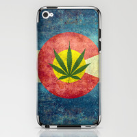 Retro Colorado State flag with the leaf - Marijuana leaf that is! iPhone & iPod Skin by Bruce Stanfield