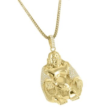 Custom 14k Gold Finish Iced out Religious 3D Buddha Pendant Free Chain