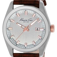 Men's Kenneth Cole New York Round Leather Strap Watch, 44mm - Brown