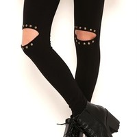Solid Legging with Slash and Stud Knee Trim