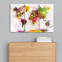 Triptych Abstract World Map Art Print Canvas Painting Modern Wall Art Watercolor Drawing for Living Room home space Decor Poster