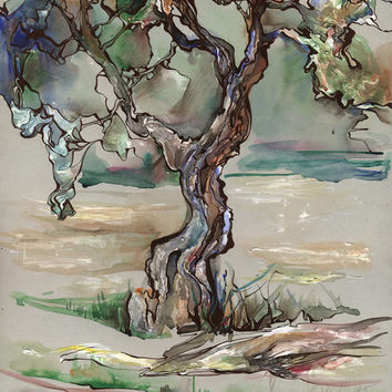 "Original abstract watercolor and tempera painting ""Colorful tree"", paper"
