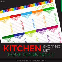 Grocery List, Shopping List, Meal Planner, Meal Planning // Colorful, Planner Organizer DIY // Household PDF Printables