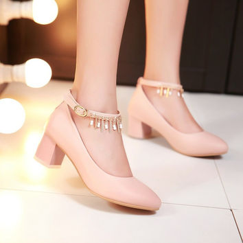 Ankle Straps Chains Women Chunky Heel Pumps 5839