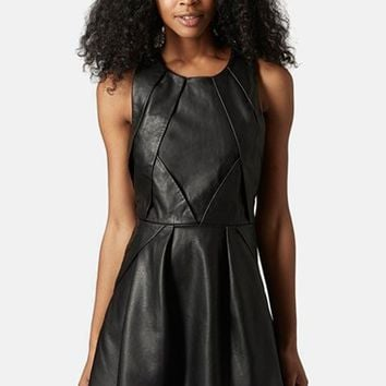Women's Topshop 'Tulisa' Faux Leather Skater Dress,