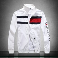 Tommy Hilfiger zip stand collar windproof warm breathable jacket white
