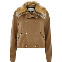 River Island Womens Camel faux fur collar casual jacket