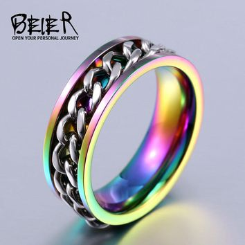 BEIER New Part Plated-Gold/Black Man's Cool Spin Chain Ring For Man Stainless Steel Cool Man Woman Fashion Jewelry BR-R065
