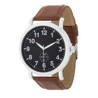 Mens Classic Leather Watch Black Brown