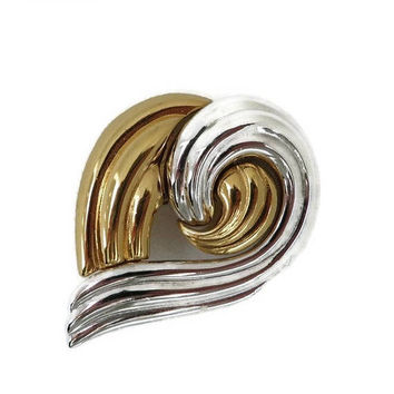 ON SALE! MONET Two Tone Swirl Brooch, Vintage Designer Signed Costume Jewelry Goldtone Silvertone Pin
