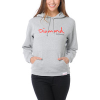 Diamond Supply Girls OG Script Heather Grey Pullover Hoodie at Zumiez : PDP