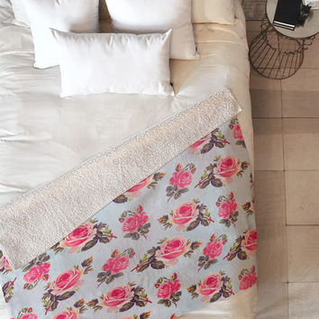 Allyson Johnson Pink Roses Fleece Throw Blanket