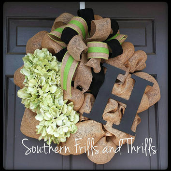 Burlap Wreath, Custom Wreath, Rustic Wreath, Initial Wreath, Hydrangea Wreath, Burlap, Wreath, Door Hanger, Spring Wreath
