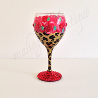 Leopard and Red Flowers Wine glass - rhinestone base