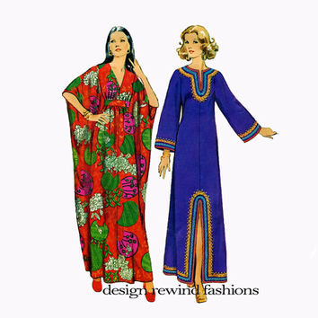 1970s WOMENS CAFTAN PATTERN V-Neck Boho Pullover Dress Pattern Simplicity 5315 70s Vintage Womens Plus Size Sewing Patterns Bust 38 40 Large