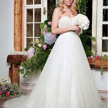[159.99] Stunning Tulle & Satin Sweetheart Neckline A-Line Wedding Dresses With Beaded Lace Appliques - dressilyme.com