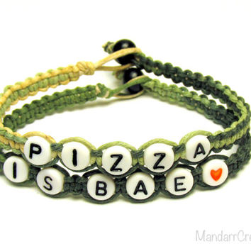 CLEARANCE - Pizza is Bae Bracelets, Set of Two, Camo Macrame Hemp Jewelry for Pizza Lovers