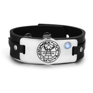 Secret Seal of Solomon Protection Magic Powers Amulet Blue Simulated Cats Eye Leather Bracelet