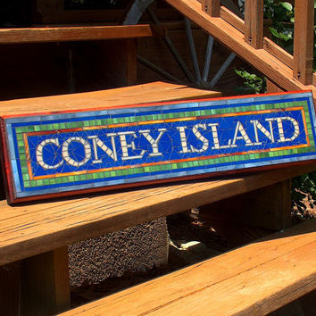 NYC Subway Mosaic Sign / Plaque - Coney Island - Name or Address New York City Subway Signs