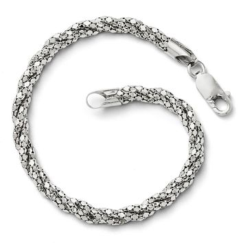 Leslies Sterling Silver Polished Mesh Bracelet