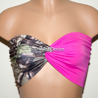 Camo and Pink Bandeau Top, Swimwear Bikini Top, Twisted Top Bathing Suits, Spandex Bandeau Bikini