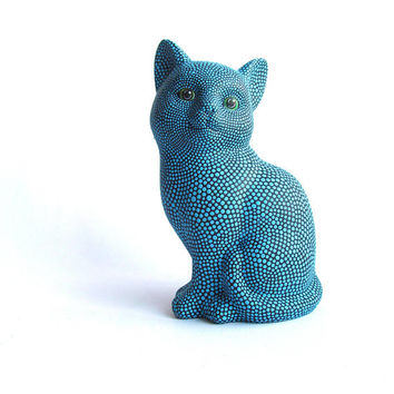 Blue Cat: Hand Painted Cat Figurine Kitty Cat Art Ceramic Cat Figurine