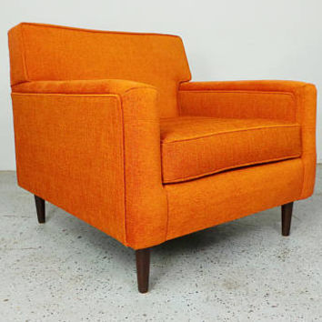 mid century modern authentic Edward Wormley Dunbar reupholstered orange tweed lounge chair