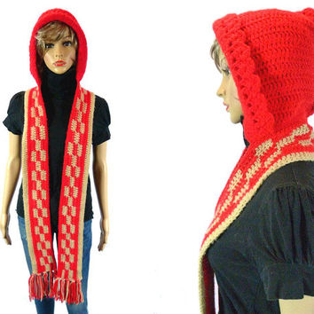 Vintage Hooded Scarf, 60's 70's Winter Knit Hat, Little Red Riding Hood Checker Scarf, Pixie Fringe Scarf Novelty Winter Wrap Ruffle Bonnet