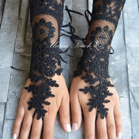 black burlesque vampire glove/black or ivory lace gloves french lace bridal lace wedding fingerless gothic gloves/free shipping