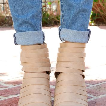 Miles Away Beige Ankle Boots