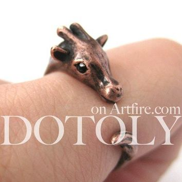 Mother Giraffe Animal Wrap Around Ring in Copper - Sizes 4 to 9 Available