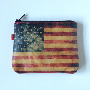 Change purse coin purse American flag change purse US flag change wallet small zippered wallet red change purse made in USA wallet