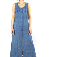 90s Denim Maxi Dress Button Down Front Sleeveless Denim Dress Grunge Hipster Blue Jean Dress Lizwear Medium Wash Denim Dress (M)