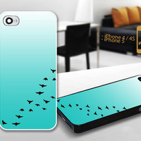PCFH013 bird flying away - Custom Design For iPhone 5 Plastic And iPhone 4 / 4S Case Cover - Black / White Cases