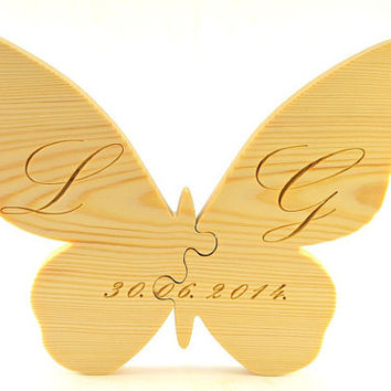 Large Personalized Wood Wedding Puzzle for Wedding Gifts, Rustic Wedding Decors, Home Wall Decors, Handmade Two Piece Wooden Butterfly