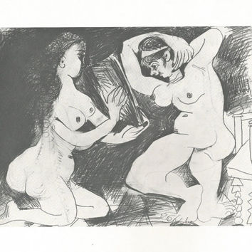 "Pablo Picasso 1972 Vintage Lithograph Signed on the Plate Entitled ""Femmes a leur toilette"" c. 1967 From Sari Heller Gallery Classic Picasso"