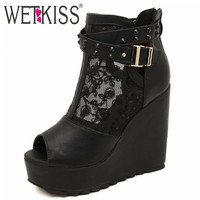 Sexy Peep toe Mesh Summer Boots High Wedges Thick Platform Women Boots High Heels Shoes Woman Rivets Buckle Strap Ankle Boots