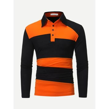 Men Cut And Sew Panel Polo Shirt