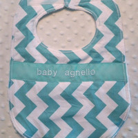 Personalized Bib - Aqua Chevron